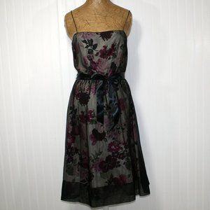 LAUNDRY BY SEGAL Black Organza Silk Floral Dress